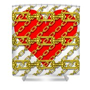 Iron Chains With Heart Texture Shower Curtain
