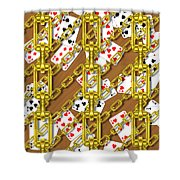 Iron Chains With Playing Cards Seamless Texture Shower Curtain