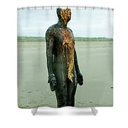 Iron Man Front, Crosby Beach Liverpool Shower Curtain