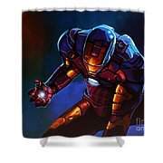 Iron Man Shower Curtain by Paul Meijering
