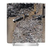 Iron Raw Materials Recycling Pile, Work Machines.  Shower Curtain