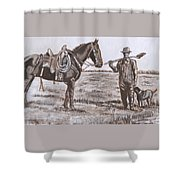 Irrigating The Hay Meadows Historical Vignette Shower Curtain