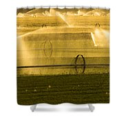 Irrigation System Operating At Sunset Shower Curtain