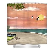 Island Boat Shower Curtain