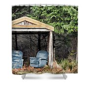 Island Bus Stop - 365-141 Shower Curtain