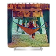 Island Dreams Under The Pier Watercolors Painting Shower Curtain