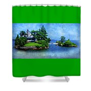 Island Home With Bridge - My Happy Place Shower Curtain