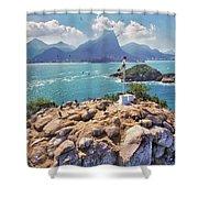 Island Lighthouse Shower Curtain