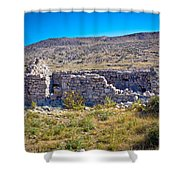 Island Of Krk Old Stone Ruins Shower Curtain
