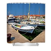Island Of Prvic Harbor And Waterfront View In Sepurine Village Shower Curtain