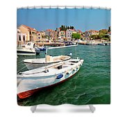 Island Of Prvic Turquoise Harbor And Waterfront View In Sepurine Shower Curtain