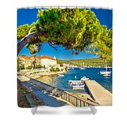 Island Of Vis Seafront Walkway View Shower Curtain