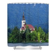 Island With Church On Bled Lake, Slovenia Shower Curtain