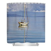 Isle Of Colonsay, Scotland Sailboat On Shower Curtain