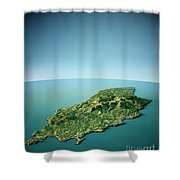 Isle Of Man 3d View South-north Natural Color Shower Curtain