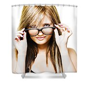 Isolated Sexy Girl Wearing Glasses On White Shower Curtain