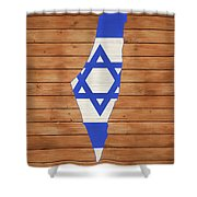 Israel Rustic Map On Wood Shower Curtain
