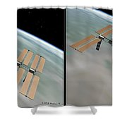 Iss - Gently Cross Your Eyes And Focus On The Middle Image Shower Curtain