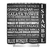 Istanbul Famous Landmarks Shower Curtain