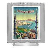 Istanbul Turkey 1939 World Travel Poster Shower Curtain