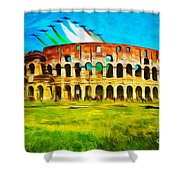 Italian Aerobatics Team Over The Colosseum Shower Curtain