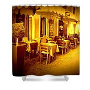Italian Cafe In Golden Sepia Shower Curtain
