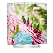 Italian Gelato Raspberry Ice Cream With Blue Umbrella Shower Curtain