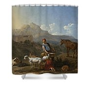 Italian Landscape With Girl Milking A Goat Shower Curtain