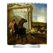 Italian Landscape With Horsemen By A Spring Shower Curtain