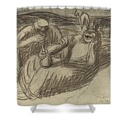 Italian Peasants With Wine Flasks Shower Curtain