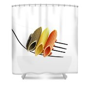 Italian Penne Pasta On A Fork Shower Curtain