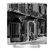 Italian Street In Black And White Shower Curtain by Stefano Senise