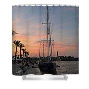 Italian Sunset And Sailboat Shower Curtain