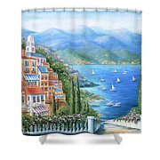 Italian Village By The Sea Shower Curtain