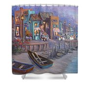 Italy Tuscan Decor Painting Seascape Village By The Sea Shower Curtain