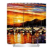 Italy - Naples Harbor- Vesuvius Shower Curtain