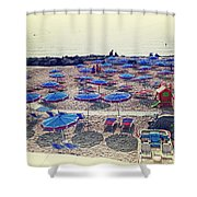 Italy, Sanremo, The Beach. Shower Curtain