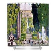 Italy Tivoli Vintage Travel Poster Restored Shower Curtain