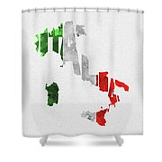 Italy Typographic Map Flag Shower Curtain