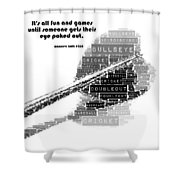 It's All Fun And Games Dart Shower Curtain
