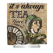 It's Always Tea Time Mad Hatter Dictionary Art Shower Curtain
