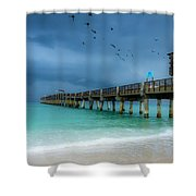 It's Getting Stormy At The Pier Shower Curtain