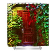 Ivy Surrounded Old Outhouse Shower Curtain