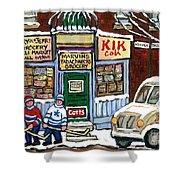 J J Joubert Vintage Milk Truck At Marvin's Grocery Montreal Memories Street Hockey Best Hockey Art Shower Curtain