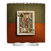 Jack Of Spades In Wood Shower Curtain