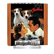 Jack Russell Terrier Art Canvas Print - Casablanca Movie Poster Shower Curtain