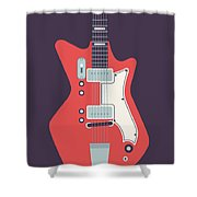60's Electric Guitar - Black Shower Curtain