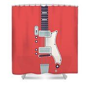 60's Electric Guitar - Red Shower Curtain