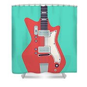 60's Electric Guitar - Teal Shower Curtain