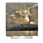 Jackson Lake Sunset View Shower Curtain